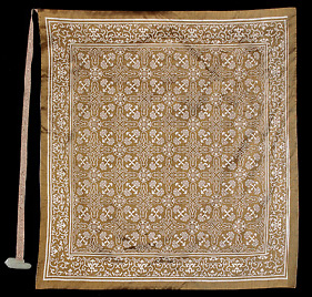 Brown and white imperial brocade wrapper