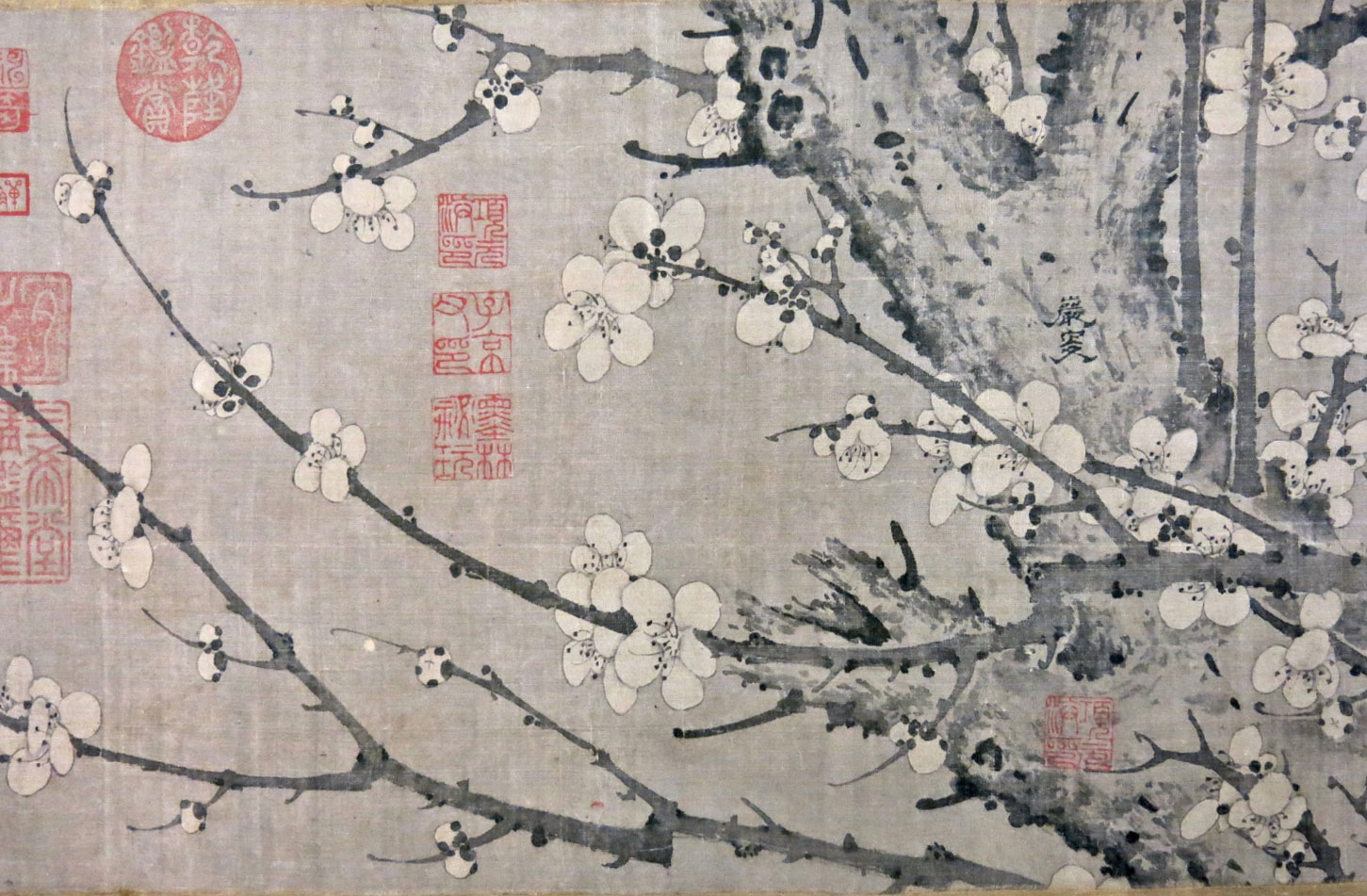 Detail of Yansou's painting: Ink Plum Blossom