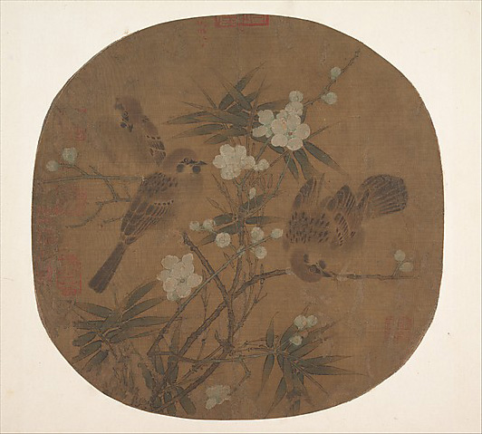 Image showing painted sparrows, plum blossoms, and bamboo